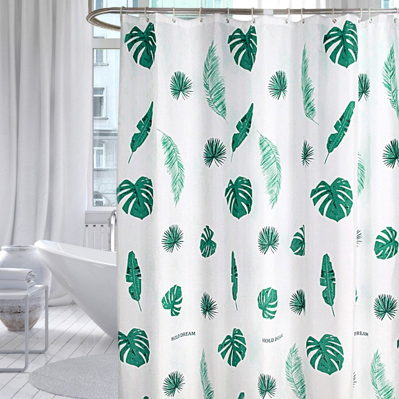 ready stock green fresh banana leaf shower curtain tropical plants thick polyester shower curtain bathroom waterproof shower curtains with hook rings