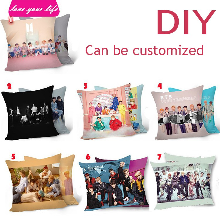 diy bts pillow birthday present two sides printed pillow case customized