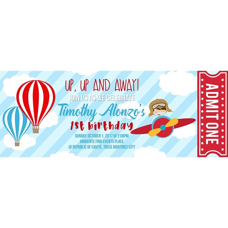 airplane aviator themed printed birthday invitation print