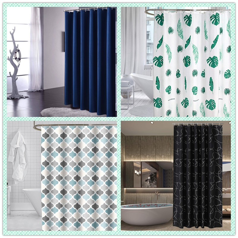 ready stock 8 styles bathroom thick polyester plain shower curtain waterproof mildew proof dark blue shower curtain with hook rings
