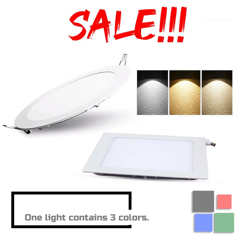 led 3 color panel light 3 tones downlight change color recessed type 6w 9w 12w