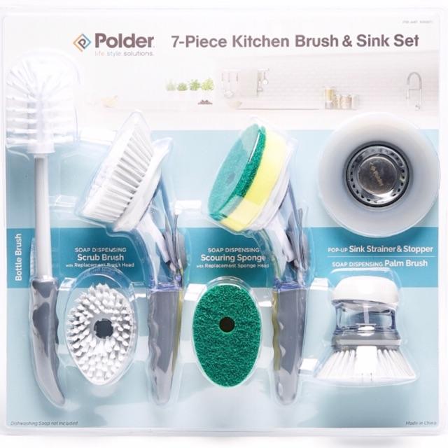 polder 7 piece kitchen brush sink set