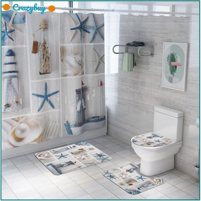 4pcs set shower curtain sets with non slip rugs toilet lid cover bath mat starfish ocean print bath set