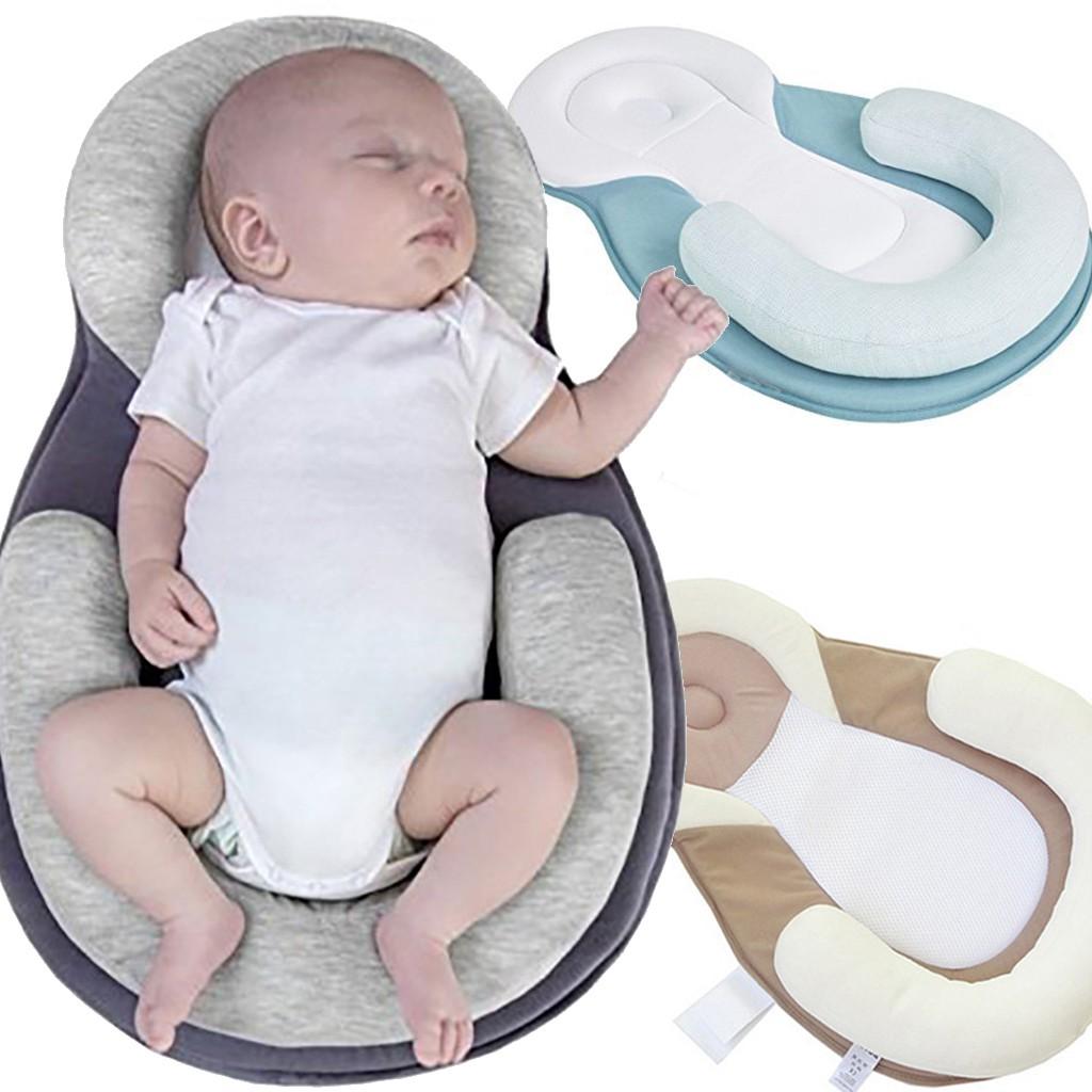 infant baby pillow prevent flat head newborn sleep safe cotton anti roll pillow