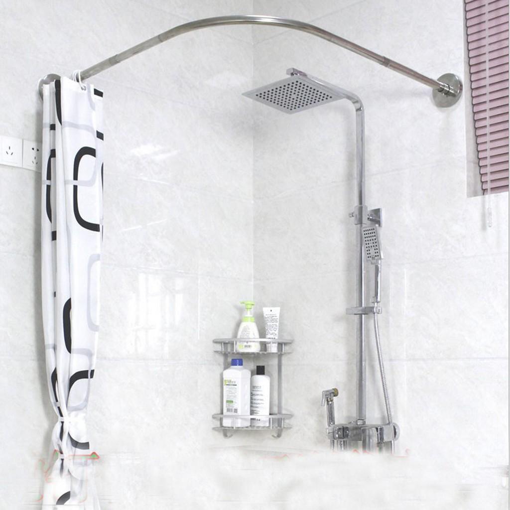 adjustable curved shower curtain rod 17 24inch bath tub bat