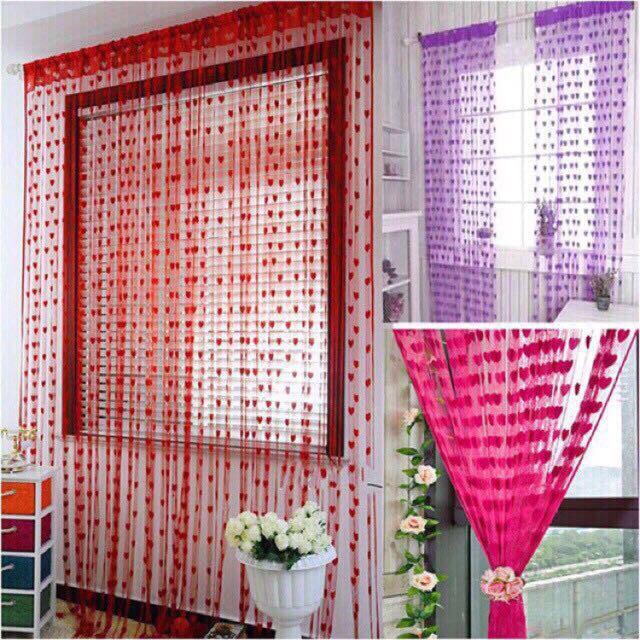 heart style line string door curtain assel window curtain