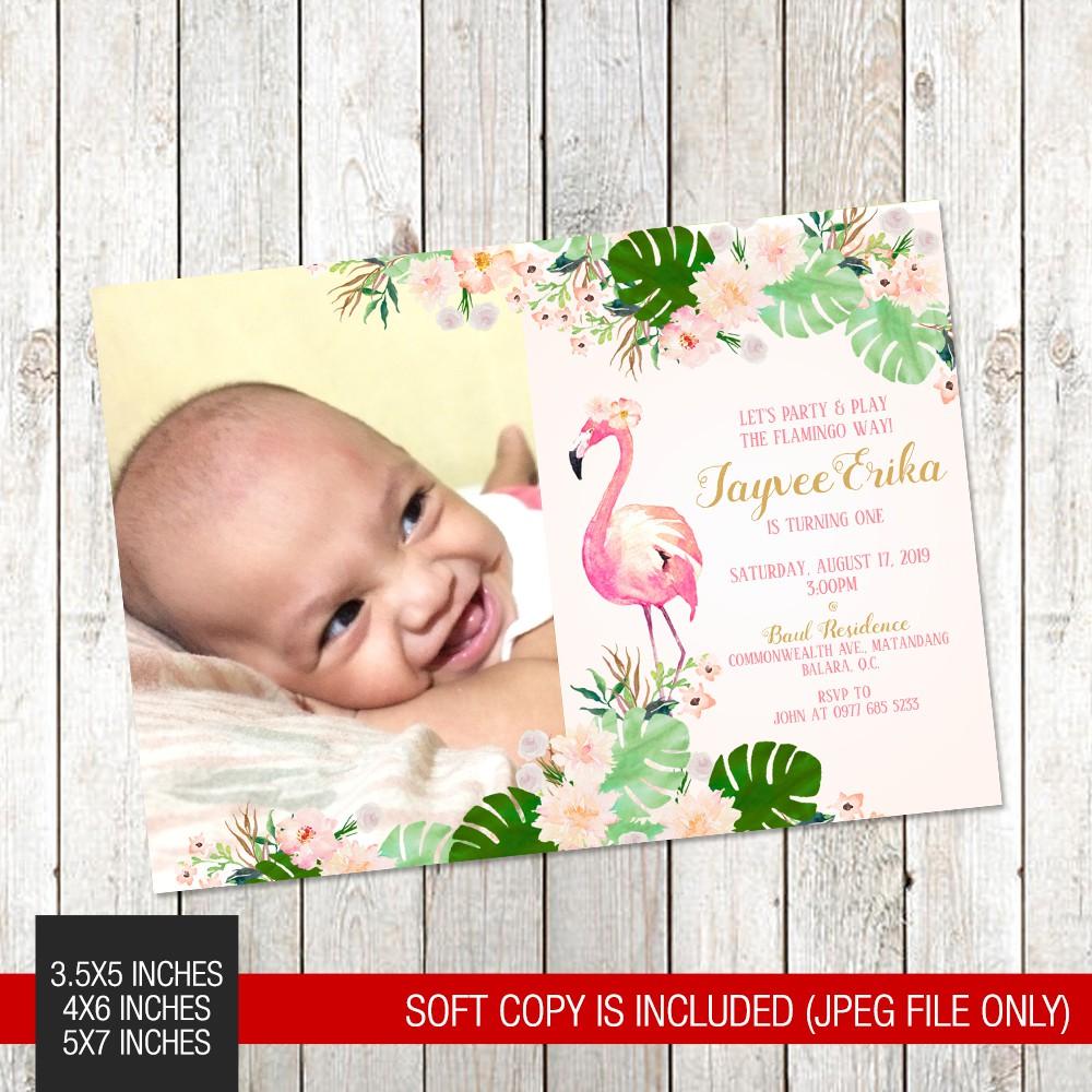 flamingo tropical summer themed printed birthday invitation 063