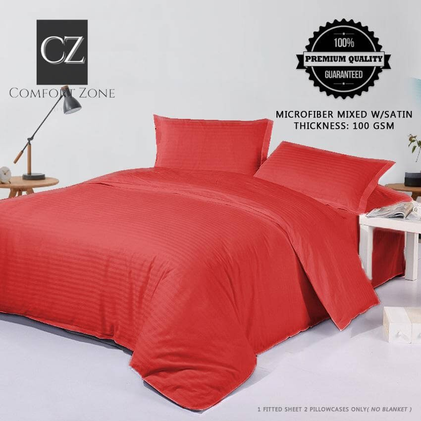 comfort zone premium bed sheet plus free 2 pillow case stripes hotel quality collection red