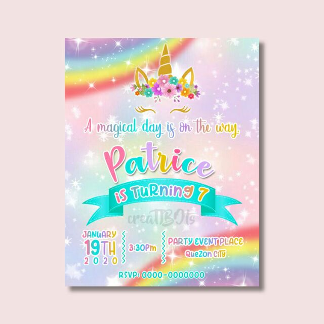 birthday invitation unicorn theme