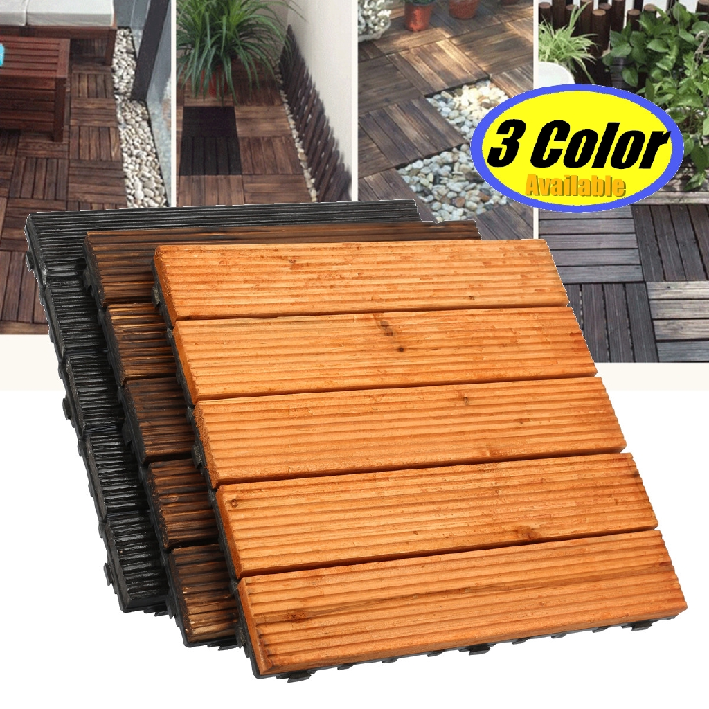 30x30cm diy wood patio interlocking flooring decking tiles