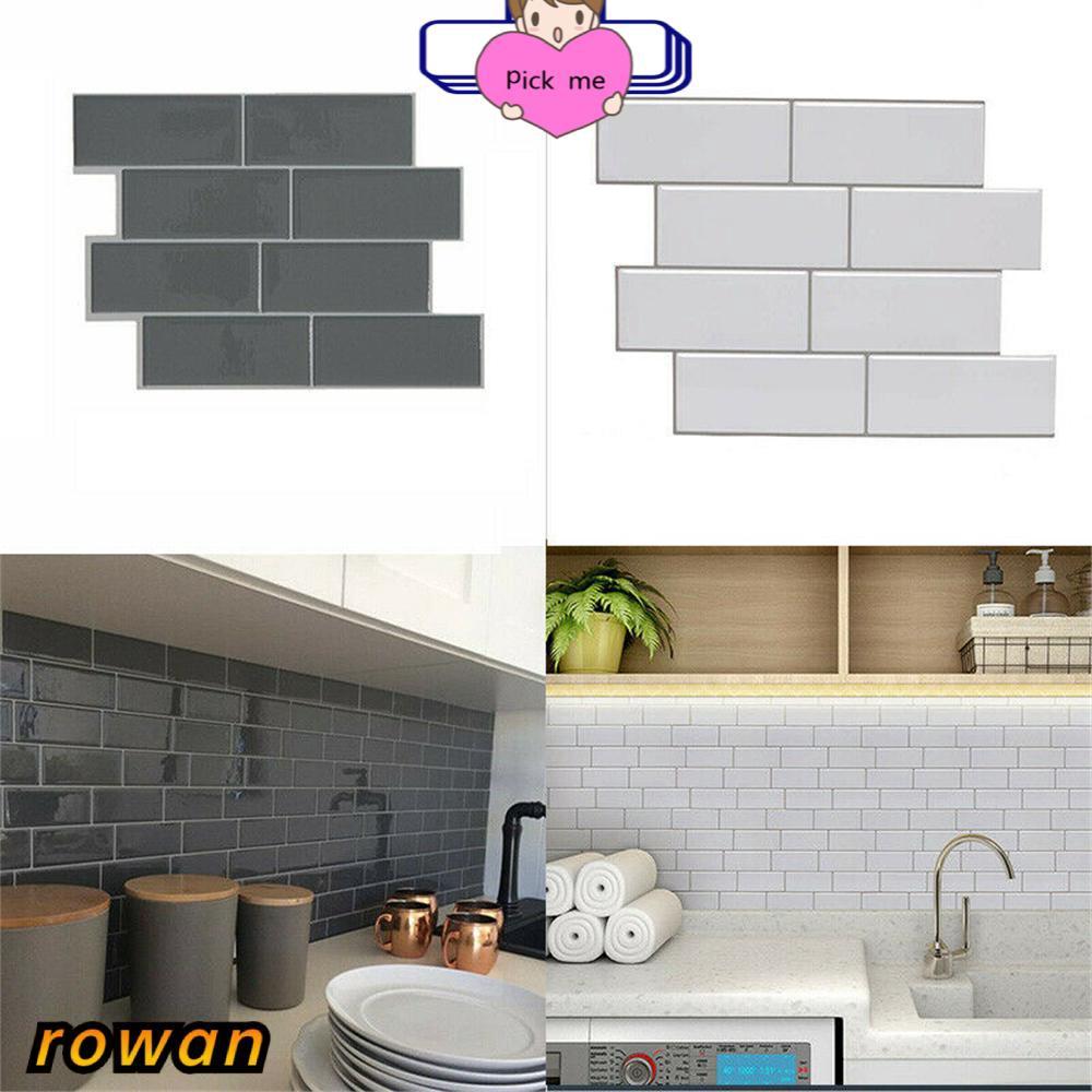 row kitchen bathroom subway tile grey brick 3d self adhesive wall sticker