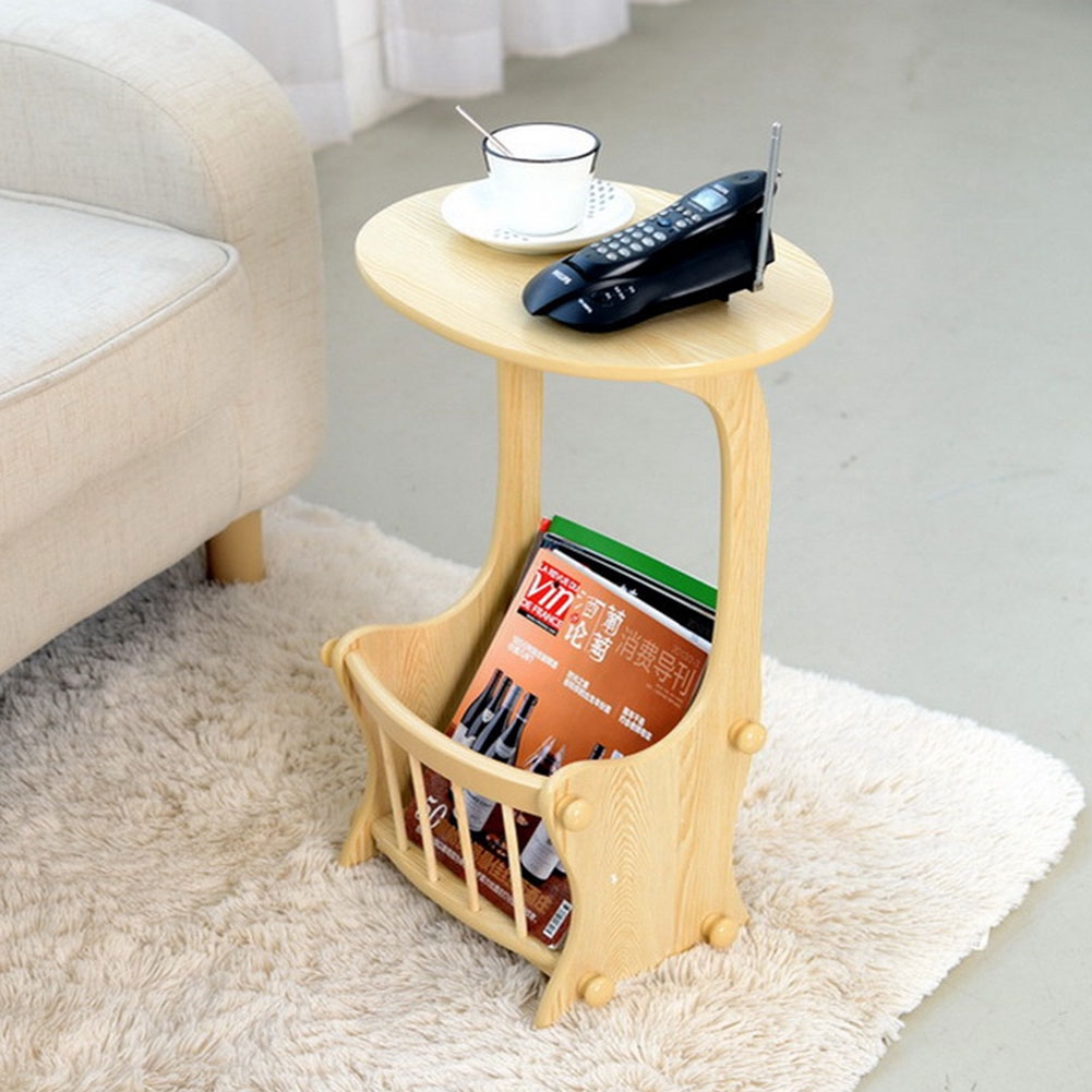 simple double layer coffee table small corner table side table with magazine rack