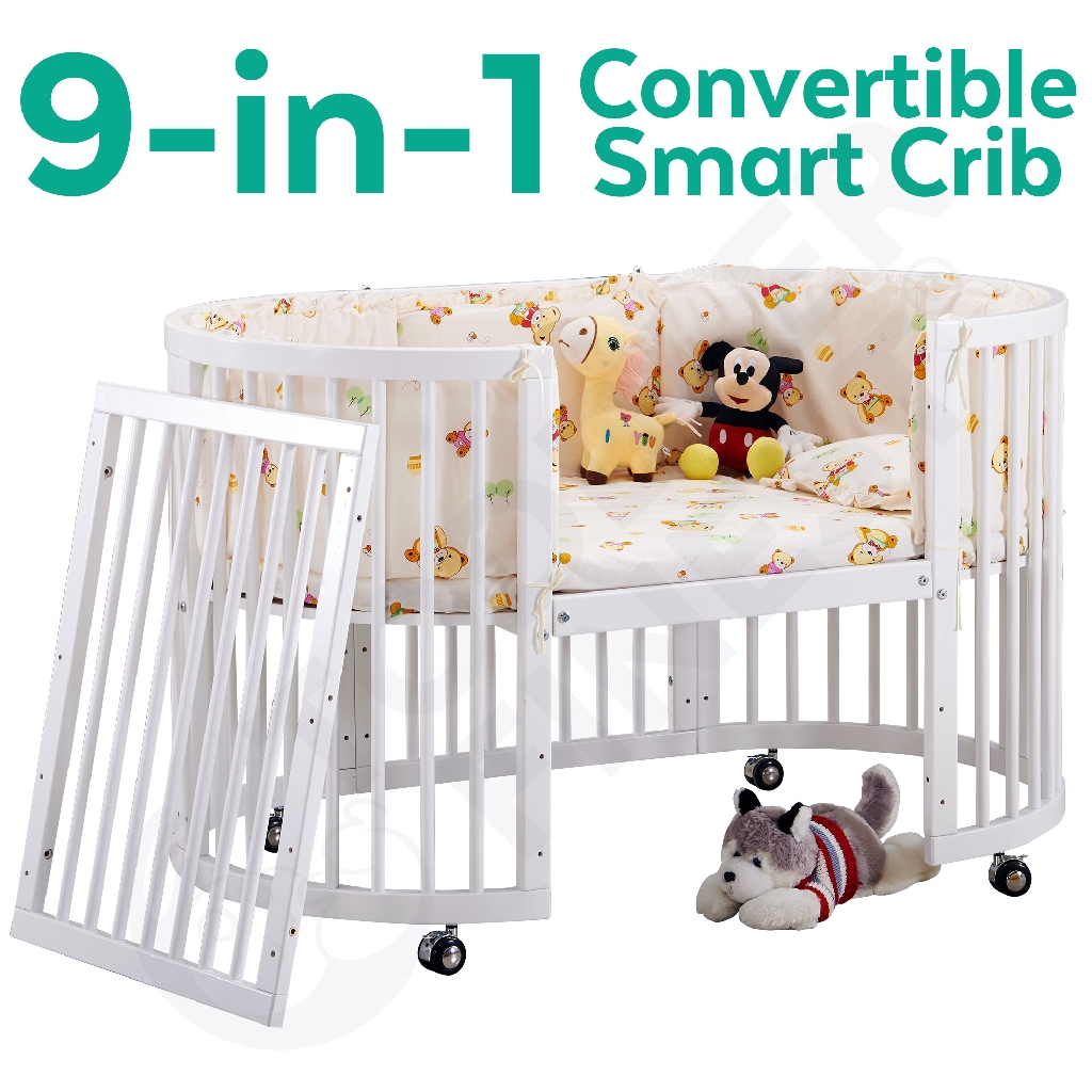 9 in 1 convertible baby crib infant round bed side bed oval cot diaper changer playard sofa desk with mattress