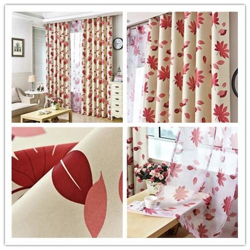 jinyahome 1pc shading high blackout red maple leaf curtain drapery window bedroom slidingdoor livingroom door curtain