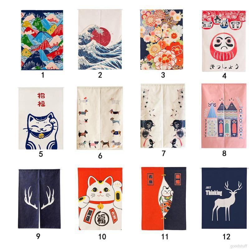 japan style door decorative short curtains half open door valance home textile