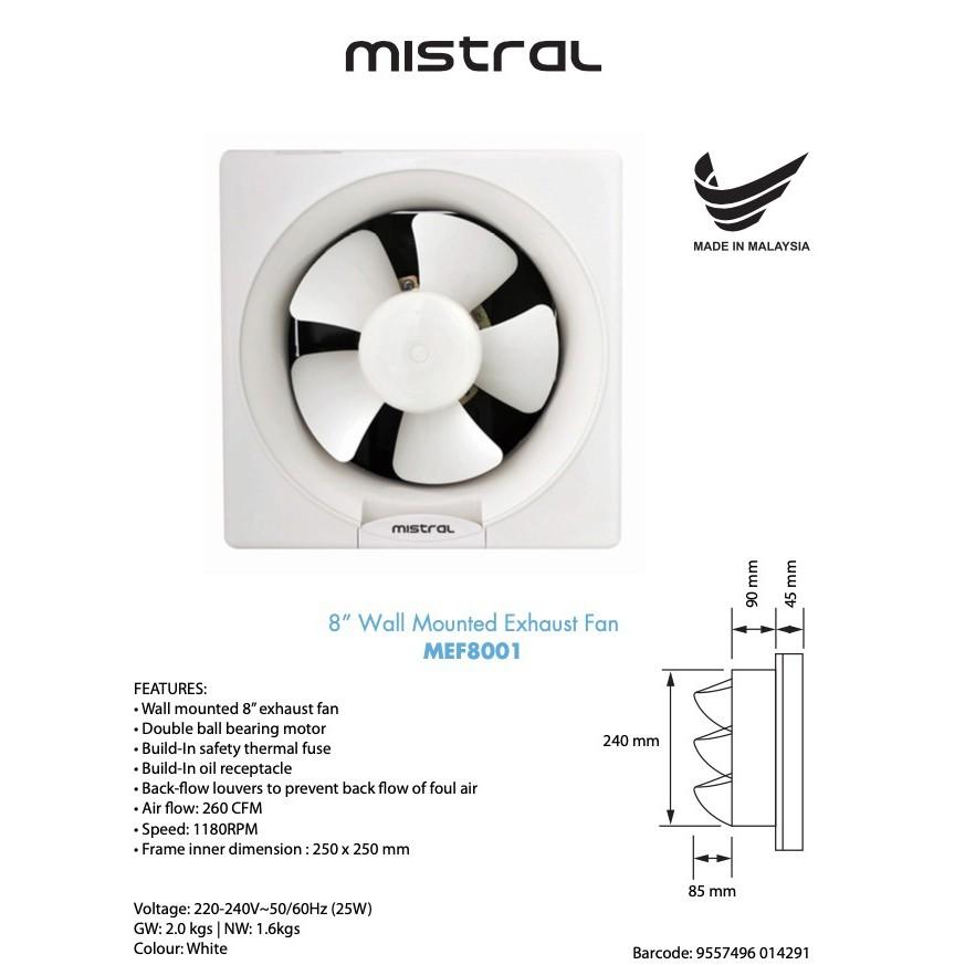 mistral 8 inch exhaust fan mef 8001