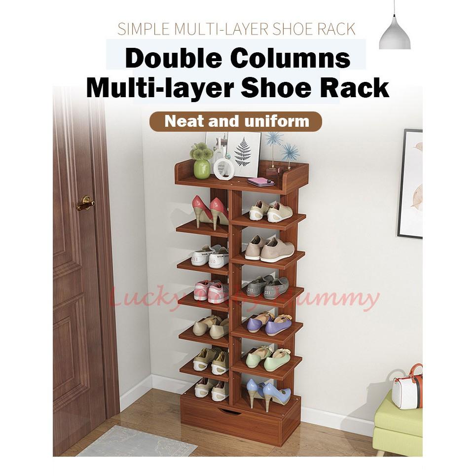 d285 doorway double column shoe rack minimalist wooden shoe shelf 7 8 tier shoe rack
