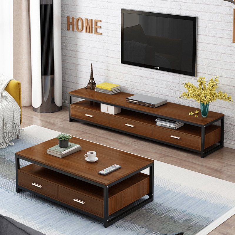simple modern tv cabinet small apartment steel wood living room furniture coffee table