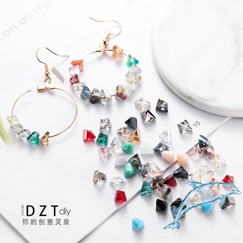 做手工的材料diy飾品配件 水晶三角形立體珠子吊飾耳環耳夾耳飾發飾項鏈手鏈掛件材料零組件 | 蝦皮購物