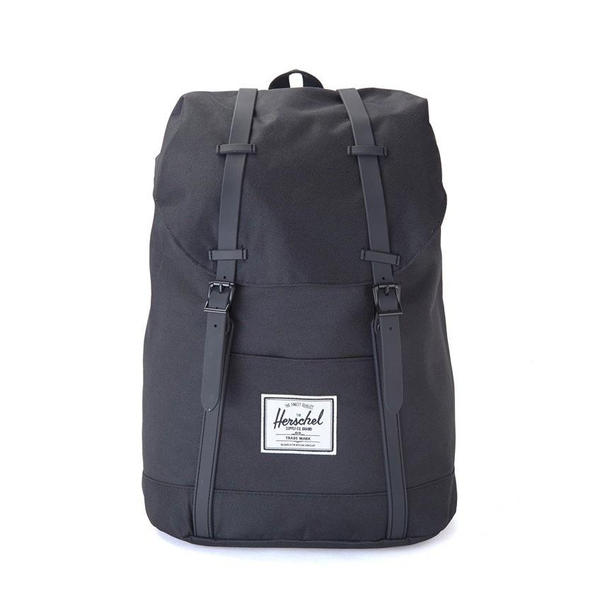 代購 HERSCHEL Supply RETREAT BLACK 黑色 橡膠帶 全黑 後背包 筆電包 書包 | 蝦皮購物