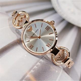 全新正品 Armani 阿曼瑪尼女錶玫瑰金簡約鑲鑽超薄小錶盤鋼帶皮帶防水女手錶 非DW CK MK | 蝦皮購物