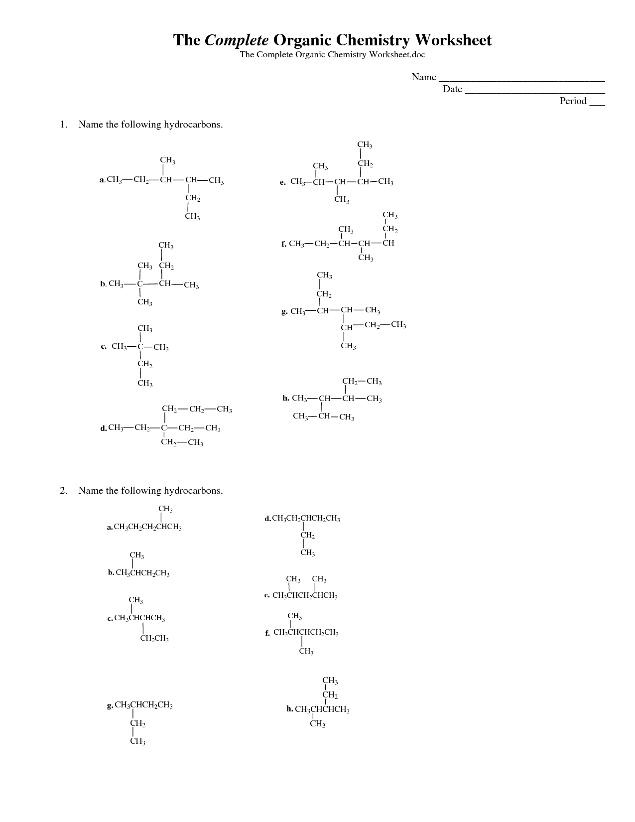 Naming Alkenes With Alkyl Groups With Answers