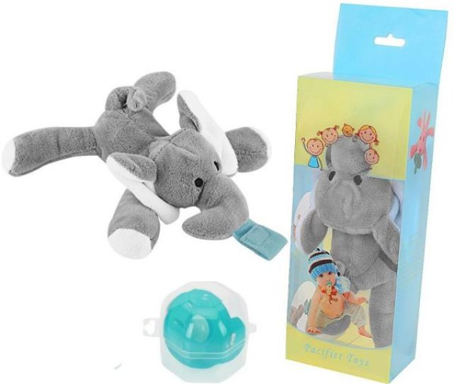 Infant Baby Silicone Pacifiers With Plush Animal Toy Baby Nipples Elephant