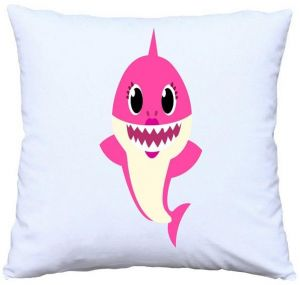 baby shark mommy print throw cushion case home decoration kids bed or sofa pillow case cover 40x40 cm hidden zipper and insert