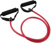 red resistance band with handles