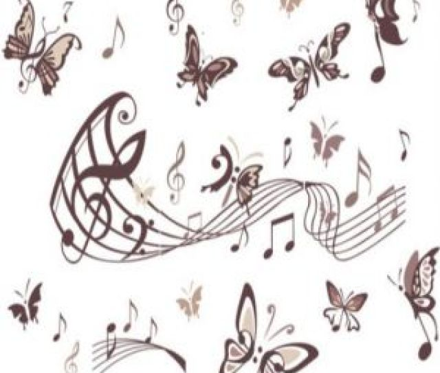 Musical Notes Butterflies Wall Sticker Decal Home Paper Pvc Murals House Wallpaper Bedroom Kids Babies Living Room Art Picture Decoration