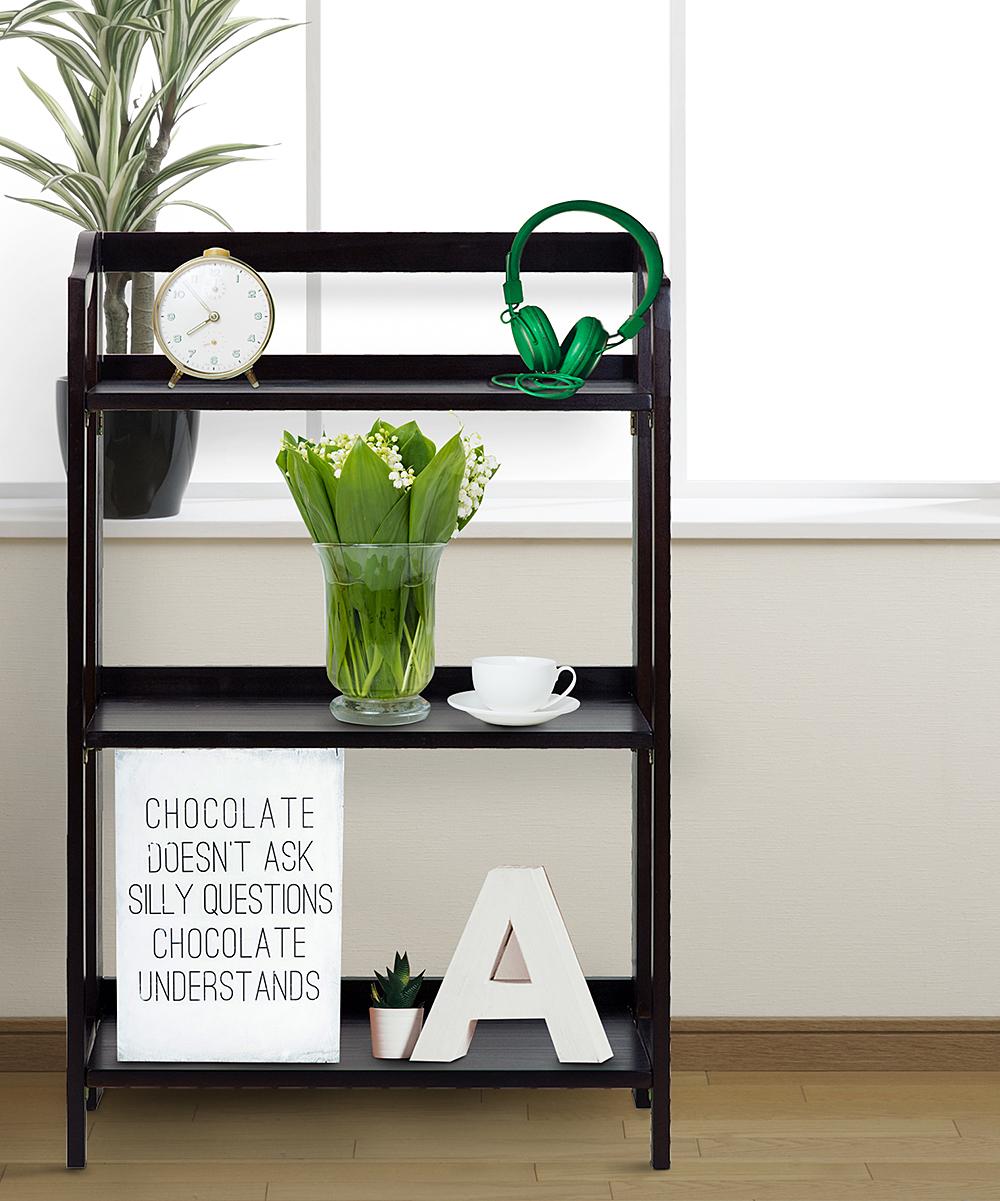 Espresso Three Shelf Folding Bookcase