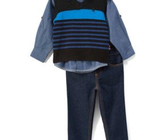 English Laundry Navy Stripe Button Up Jeans Sweater Vest Set T