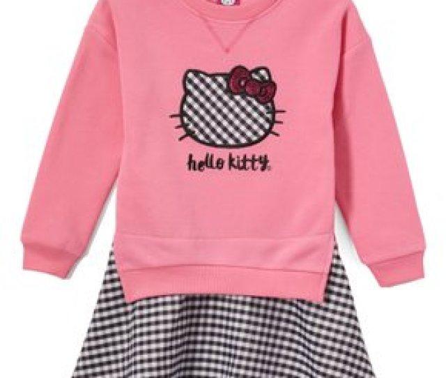 Weeplay Kids Hello Kitty Pink Fleece Sweater Dress Toddler Girls