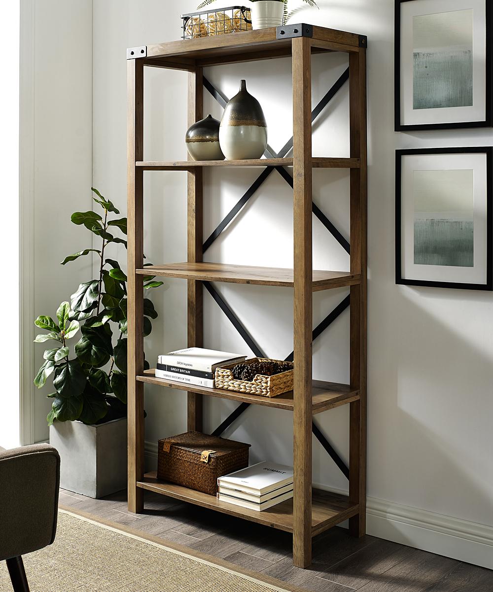 Walker Edison Rustic Oak Farmhouse X Frame Bookcase