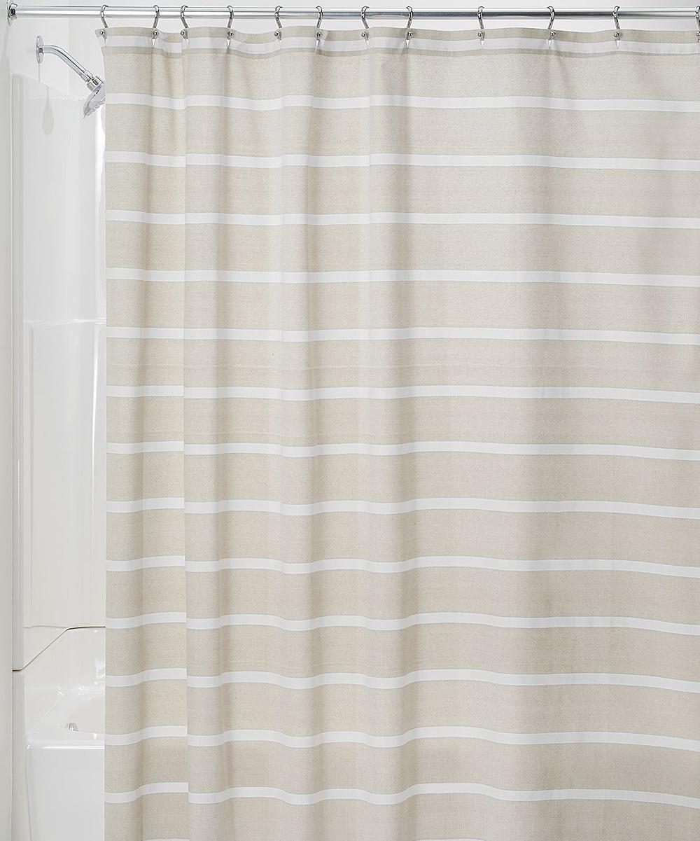 Idesign Linen White Stripe Shower Curtain