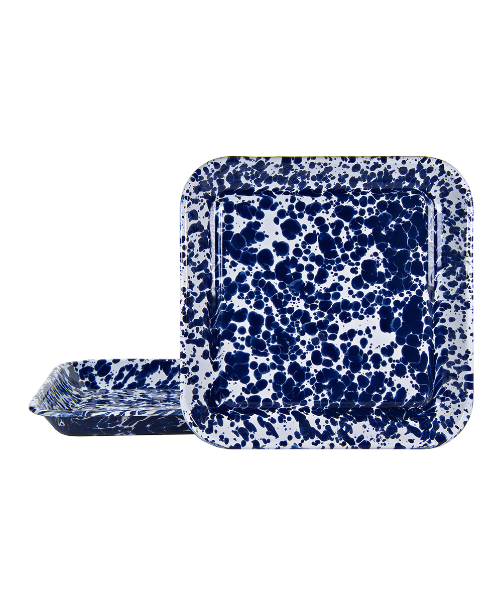 Golden Rabbit Serving Tray Blue - Cobalt & White Swirl Square Serving Tray - Set of Two