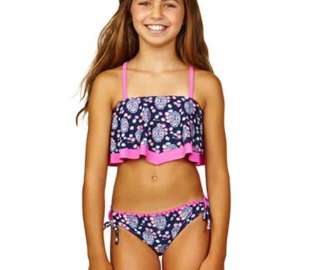 Wavy Navy Hot Pink Be Free Bikini Girls