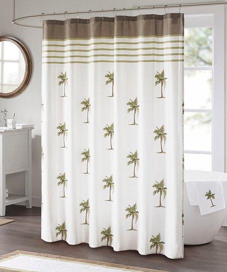 main street white palm tree shower curtain