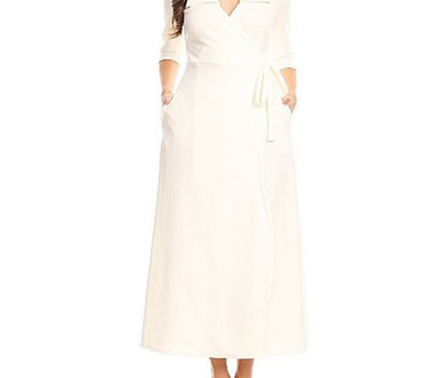 White Wrap Maxi Dress Plus