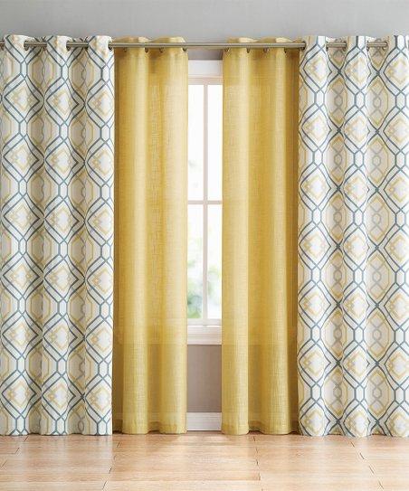 goodgram yellow white geometric curtain panel set of four
