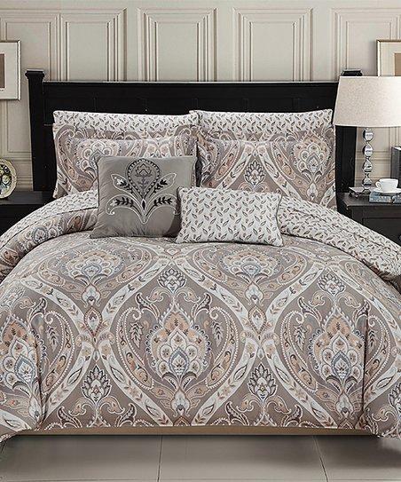 olivia gray taupe arabesque tisdale nine piece reversible comforter set