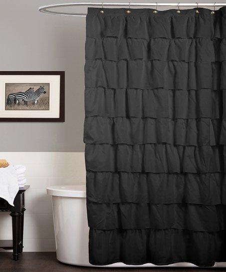 black ruffle shower curtain