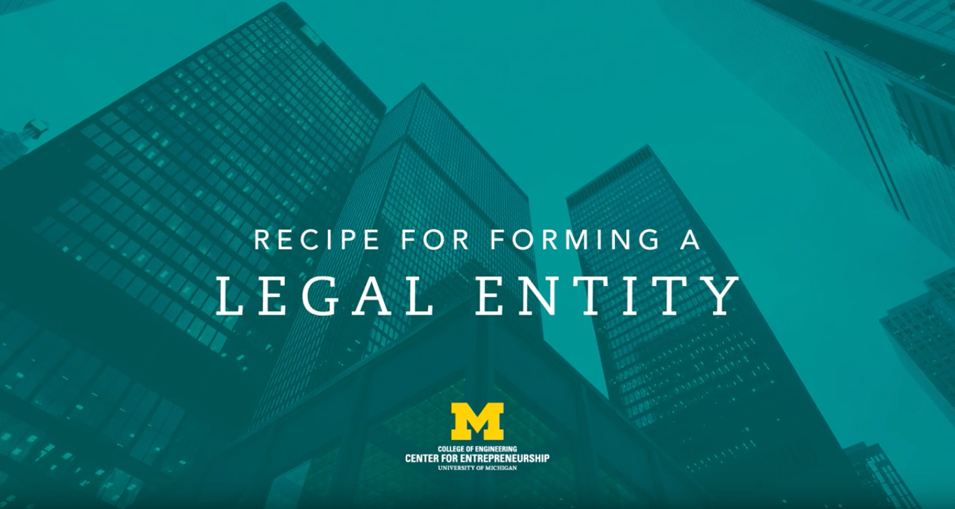 title card for recipe for forming a legal entity