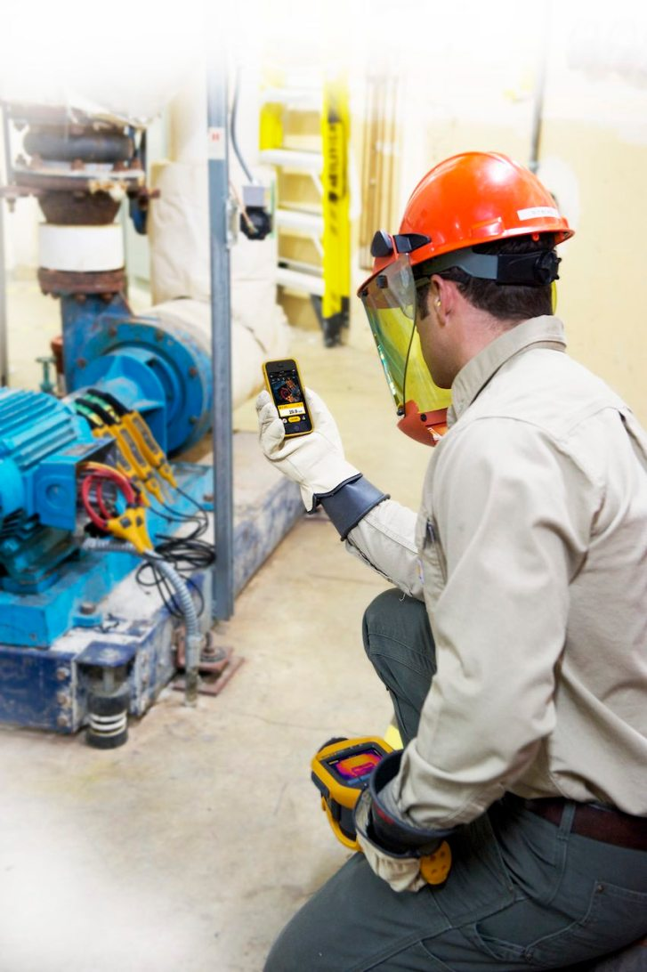 Leveraging mobile-enabled maintenance technologies allows teams to stay more connected than ever. Maintenance and reliability professionals can view the data they need to finish the job right the first time. It also keeps them out of dangerous areas, such as arc-flash zones. Courtesy: Fluke Corp.