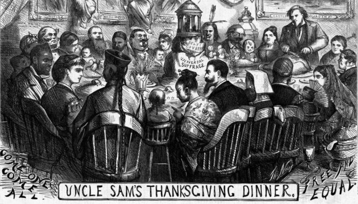 Uncle Sam's Thanksgiving Dinner T Nast Harpers Mag 1869