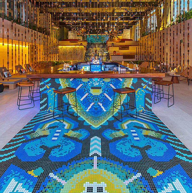 mosaic tile creates a colorful