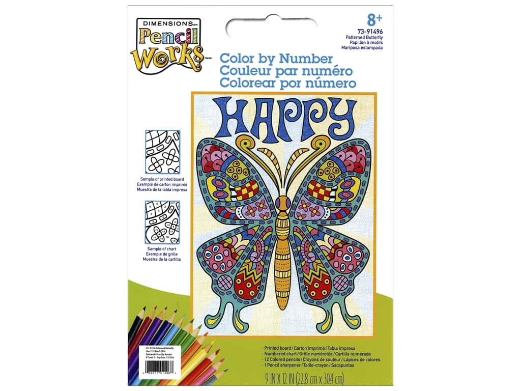 Dimensions Color By Number 9x12 Pattern Butterfly Createforless