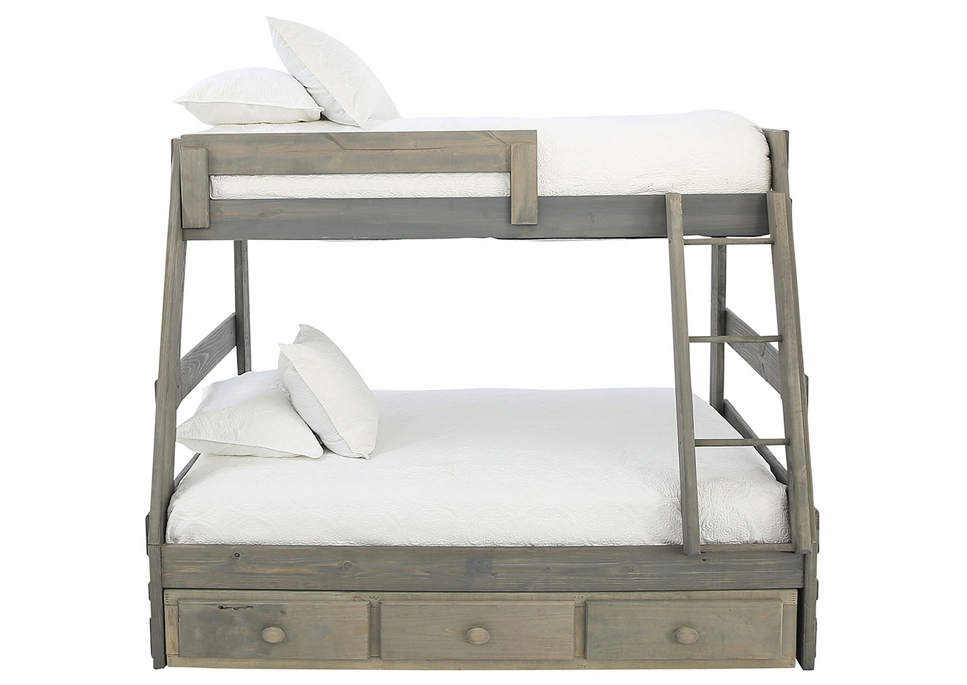 Sawyer Driftwood Twin Over Full Bunkbed With Storage And Bunkie Boards Ivan Smith