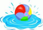 Beachball in swimming pool.
