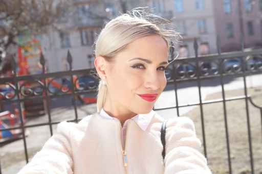 beautiful woman in city. Selfie